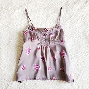 AE XS Grey Floral Crop Satin Tank Babydoll Top